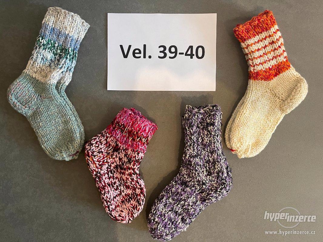 Pletené vlněné ponožky - foto 1