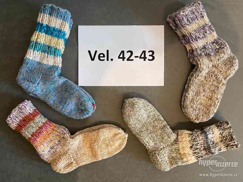 Pletené vlněné ponožky - foto 2