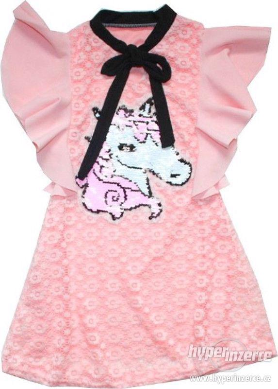 Dívčí společenské krajkové šaty s MĚNÍCÍMI FLITRY - foto 1