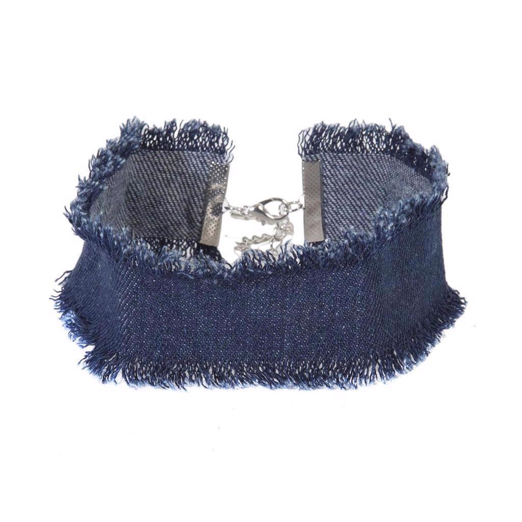 Topshop - Džínový choker náhrdelník s odřenou hranou Velikos - foto 1