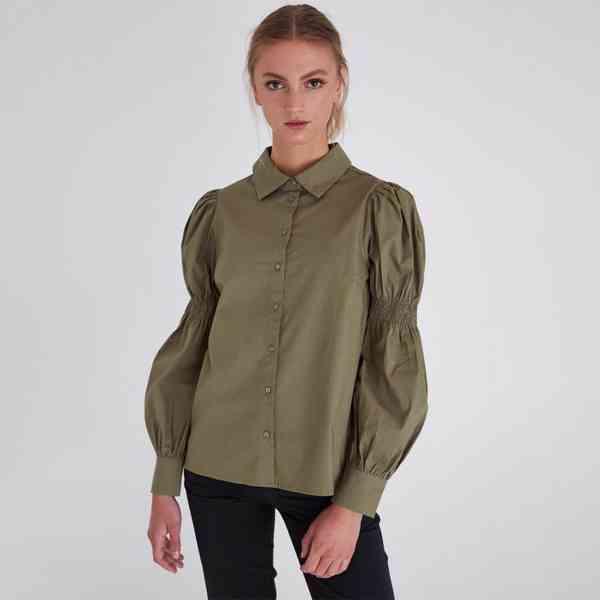 ICHI - Dámská olivová košile Grenna Velikost: 40