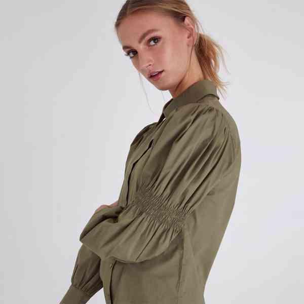 ICHI - Dámská olivová košile Grenna Velikost: 40 - foto 3