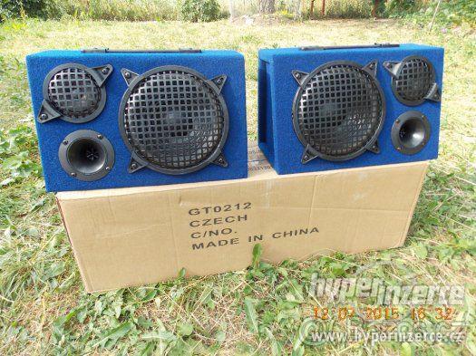 2x reproduktory reprobedny 150w třípásmové modré - BOOMBOX