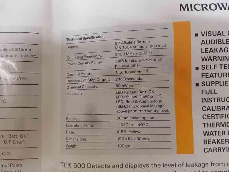 Microwave leakage detector INTEC - TEC 500 - foto 6