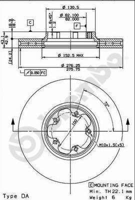 Přední brzdový kotouč Tranzit 2000-2006 Textar T 92110003