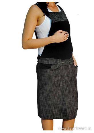 Těhotenské šaty/sukně s láclem - černý melírek