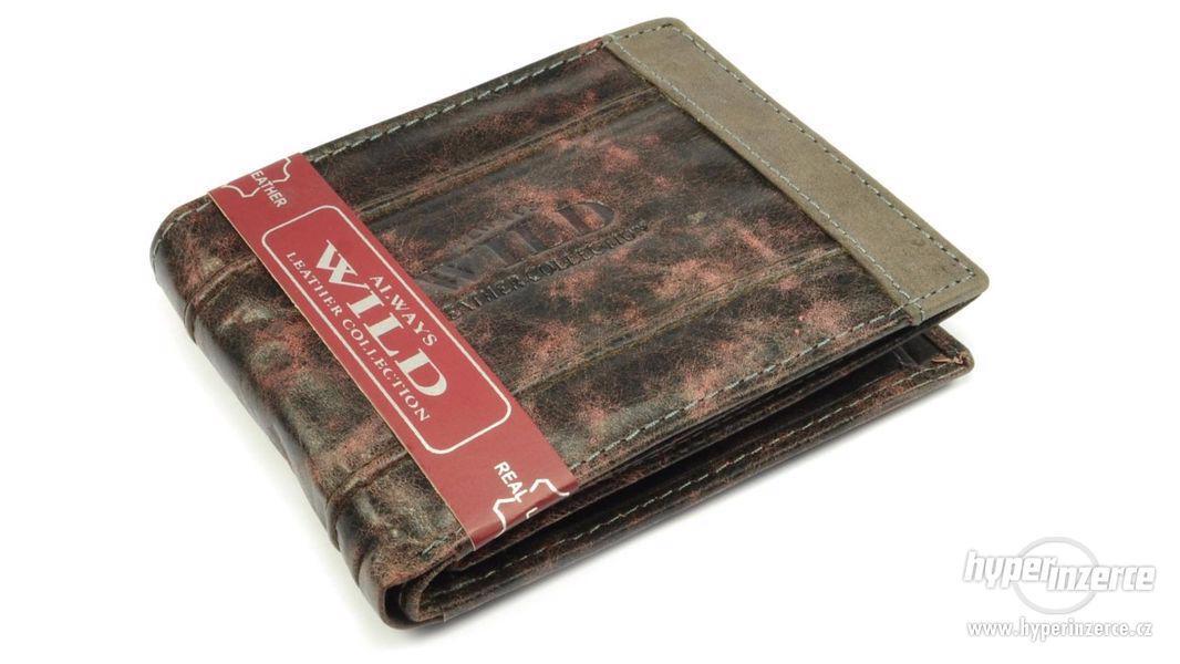 Pánská kožená peněženka šedo hnědá