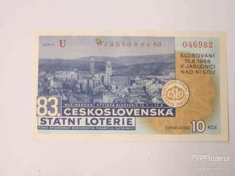 Velmi zachovalý los Státní loterie z roku 1968.