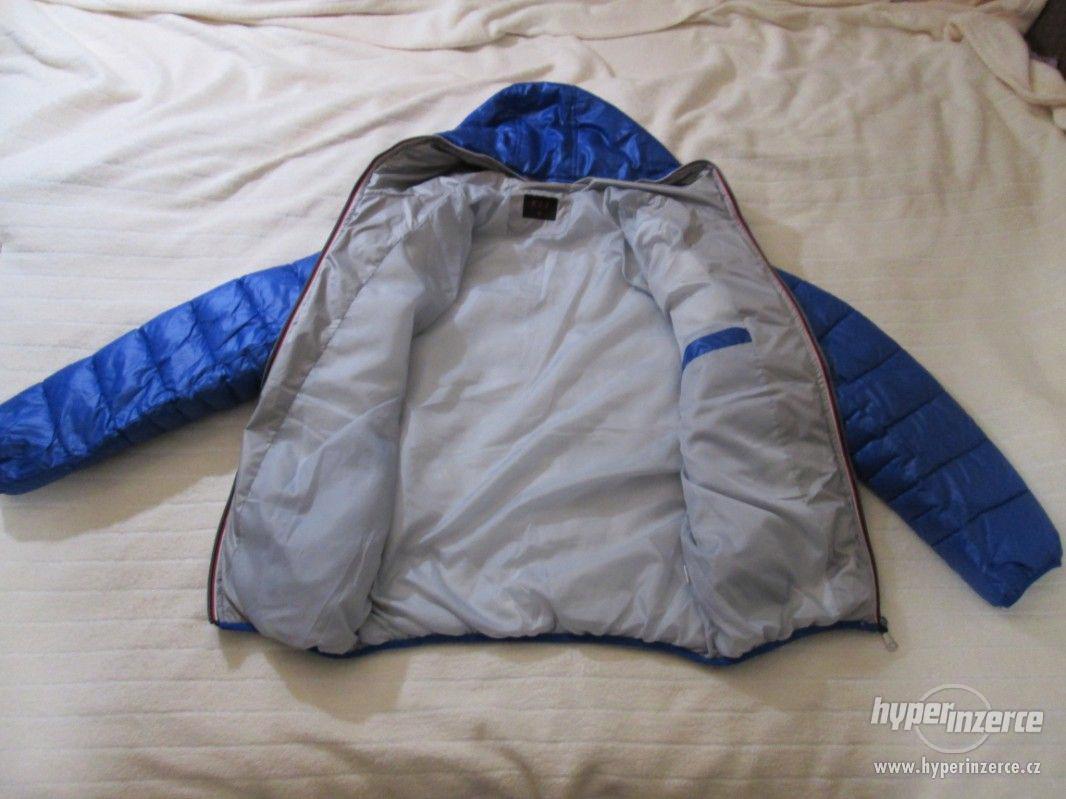 ZIMNÍ KABÁT - bunda s kapucí, vel. 164 (modrá) - foto 1