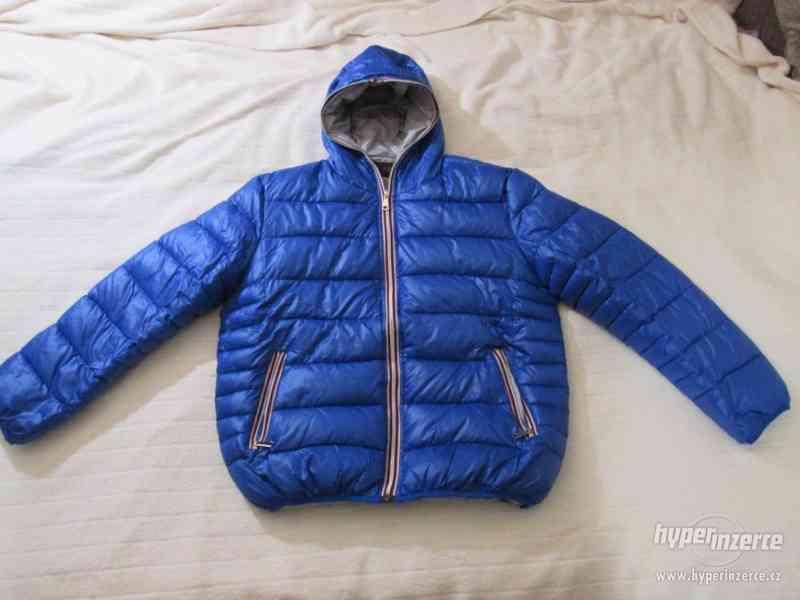 ZIMNÍ KABÁT - bunda s kapucí, vel. 164 (modrá) - foto 2