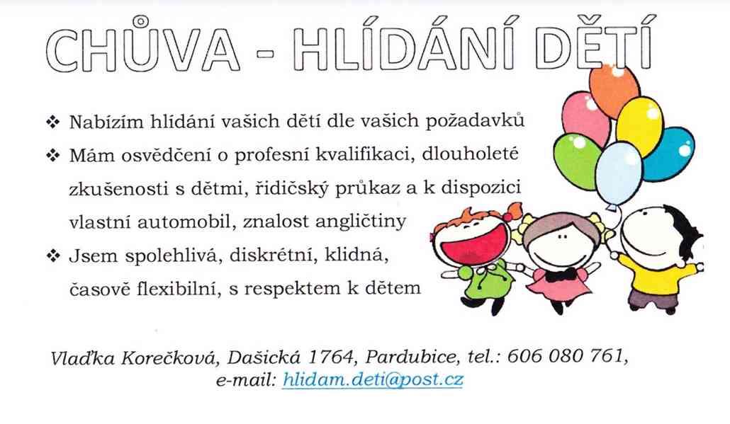 Hlídání dětí - chůva - Pardubice a okolí