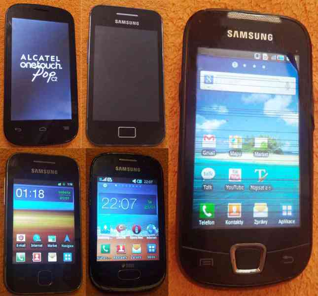 Funkční dotykové mobily s drobnými nedostatky -levně!!!