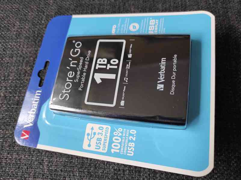 Prodám externí HDD Verbatim 1TB, zcela nový, nerozbalený