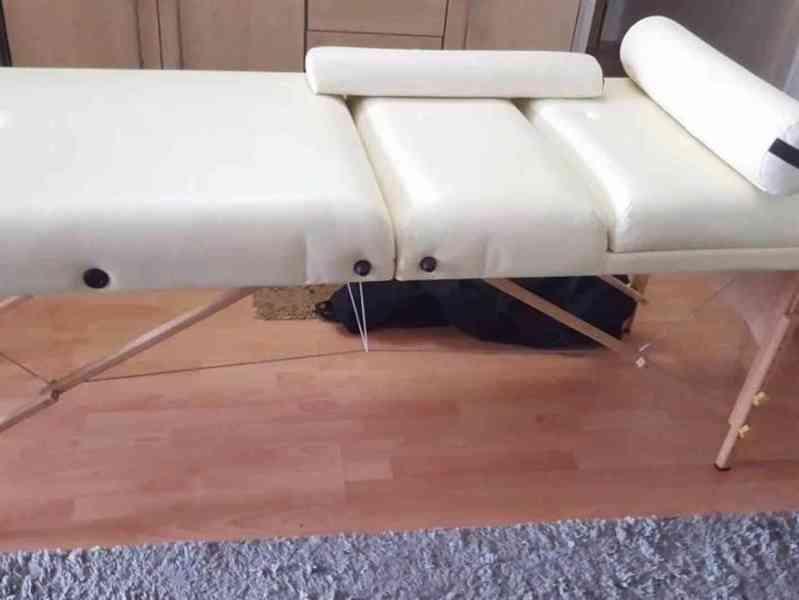 Skládací masážní lehátko dřevěné 3 zóny, 10 cm polstrováním, - foto 2