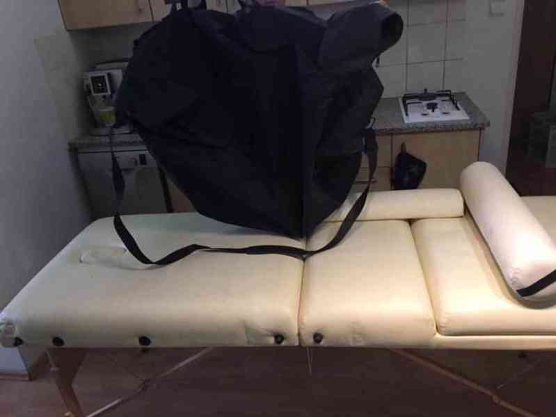 Skládací masážní lehátko dřevěné 3 zóny, 10 cm polstrováním, - foto 3