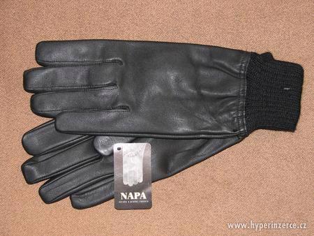 Pánské kožené rukavice s úpletem