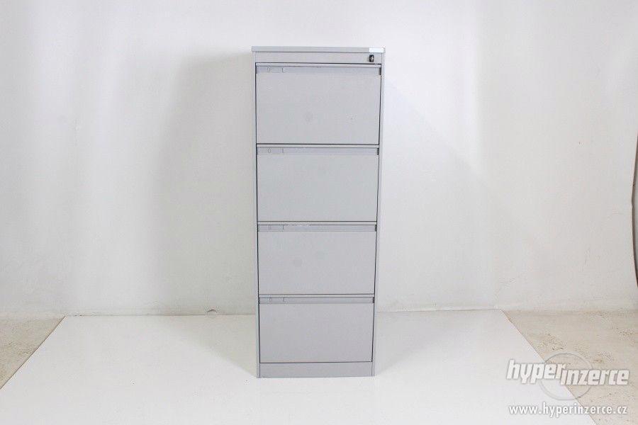 Šedá plechová kartotéka - 4 zásuvky