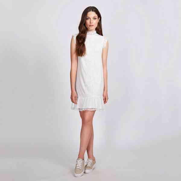 Dry Lake - Háčkované krajkové bílé Lula šaty Velikost: M