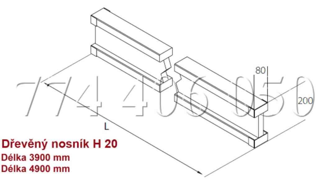 Prodám tyče a matice 70 mm a 100 mm + nosníky H20 - foto 3