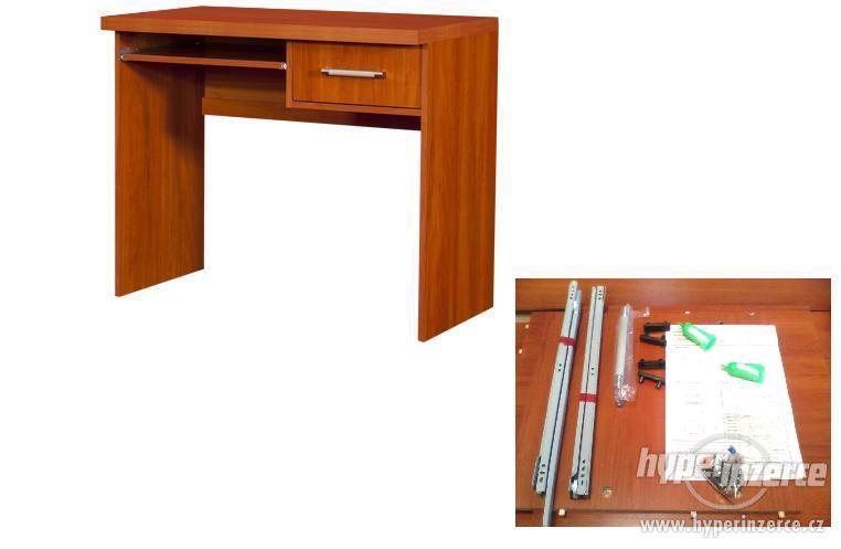 PC stolek, psací stůl, dřevo, dekor jabloň, nový v demontu