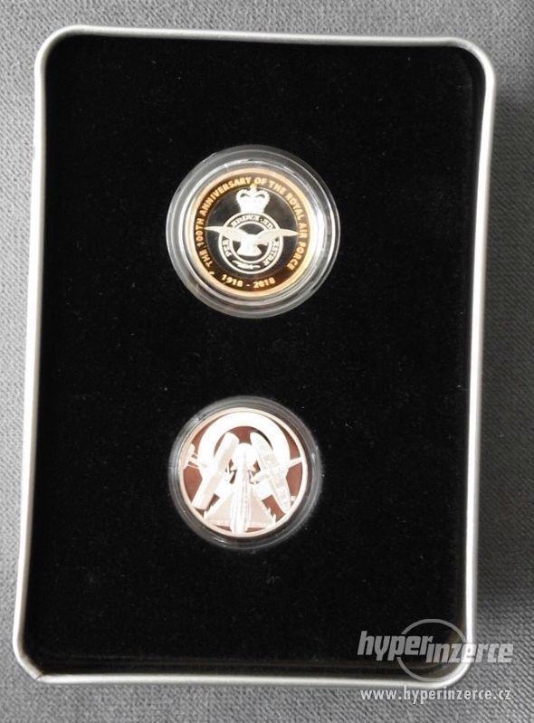 Sada 2 stříbrných mincí 100 let RAF.