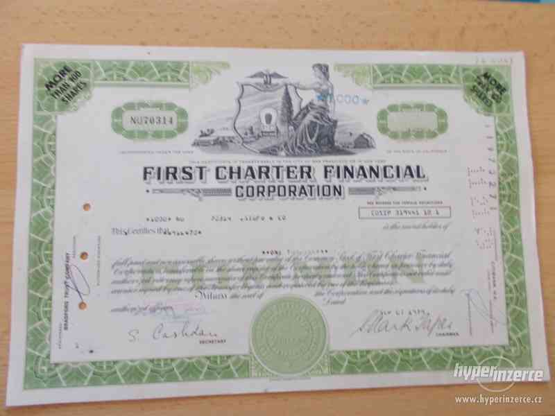 FIRST CHARTER FINANCIAL - staré akcie USA