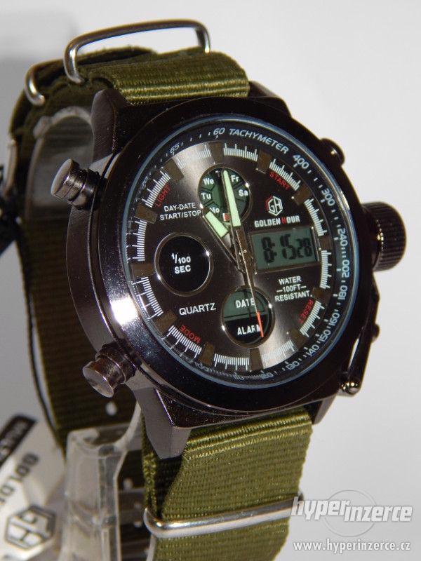 Masivní pánské  military hodinky s LCD displejem moderní pás