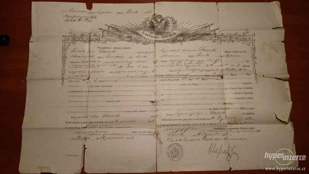Historický propouštěcí list z Rakouské císařské armády 1886 - foto 1