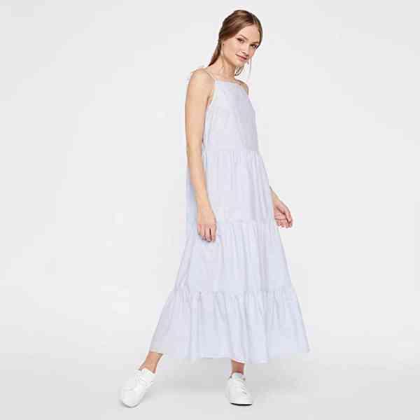 Pieces - Bavlněné midi šaty s ramínky Velikost: M