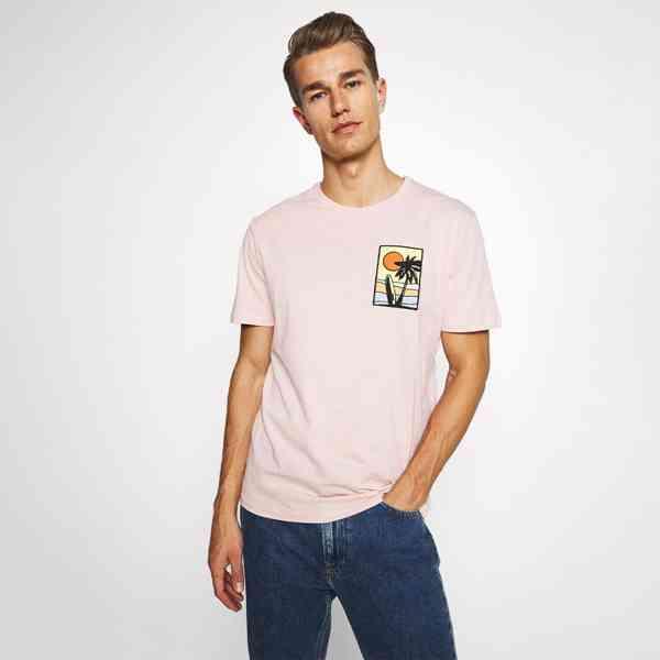Pier One - Pánské růžové tričko s palmou Velikost: M - foto 1