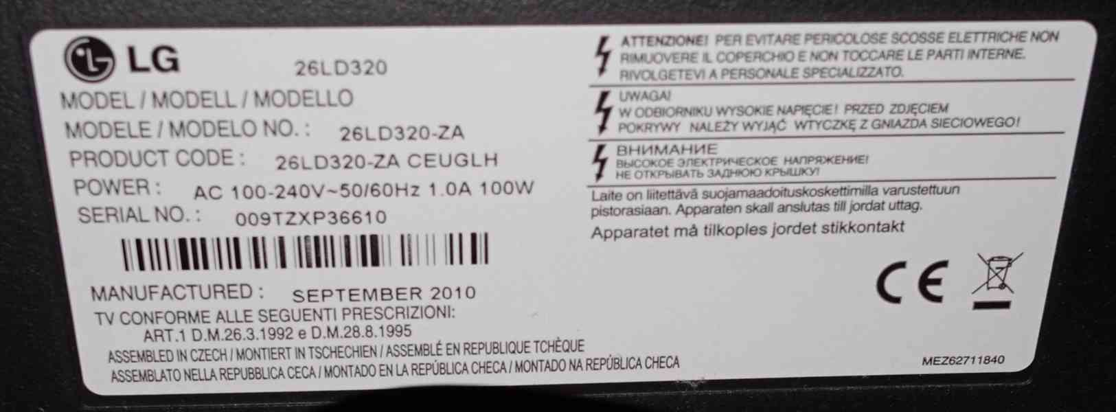 """TV LG 26"""" se DVB-T2 settop boxem - foto 2"""