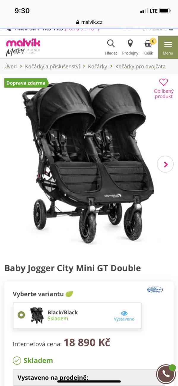 Baby jogger city mini double kocar pro dvojcata a sourozence