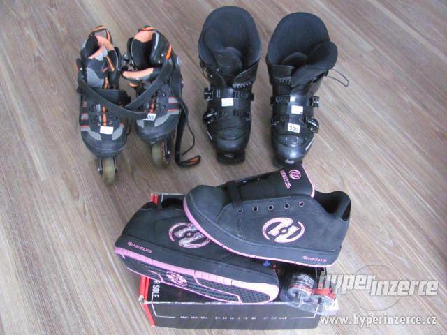 Lyžáky velikost 33,in-line brusle 30-33,kolečkové boty 38