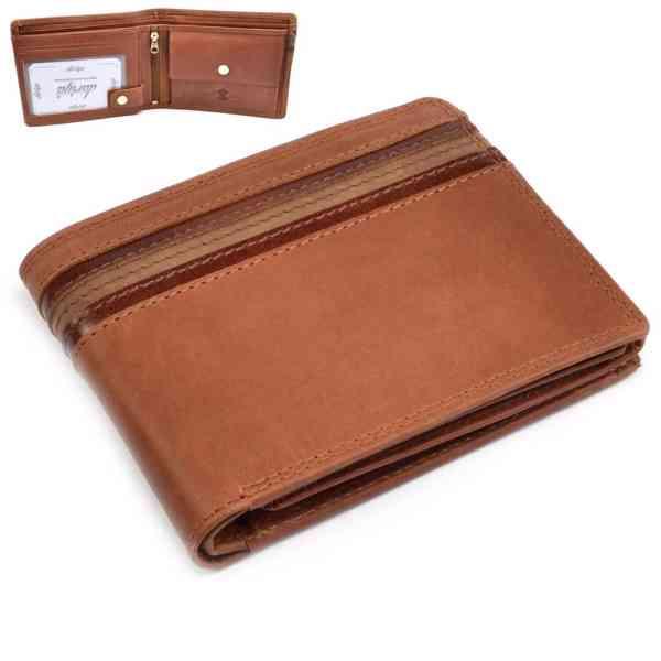 Pánská hnědá kožená peněženka - foto 1
