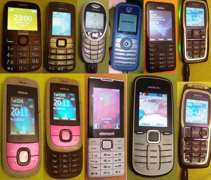 Tlačítkové mobilní telefony -funkční a s nabíječkama!!!  - foto 1