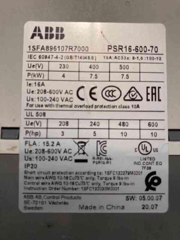 Motor starter ABB PSR16-600-70 - foto 2