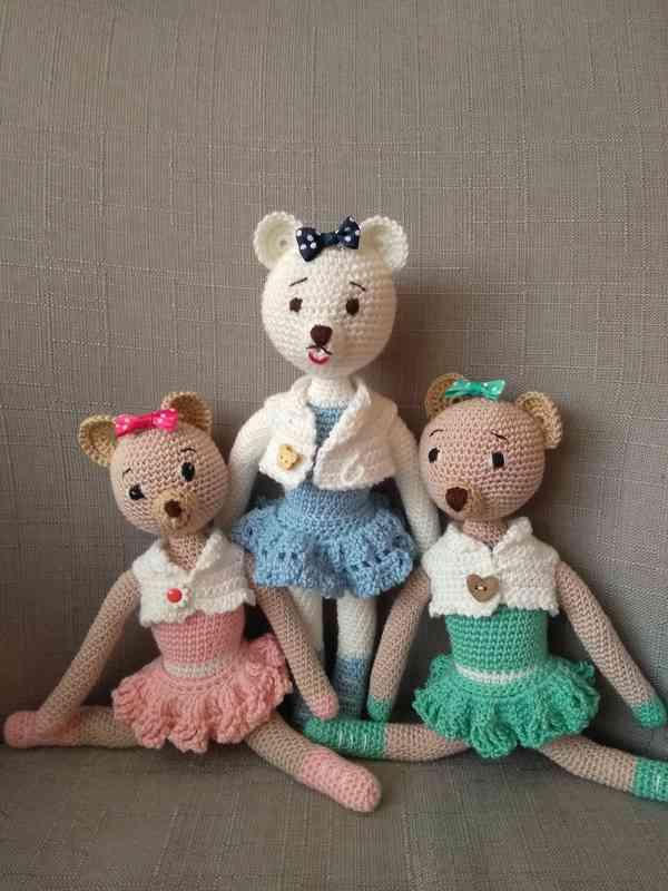 Háčkovaná panenka Medvědí baletka  cena za 1 ks