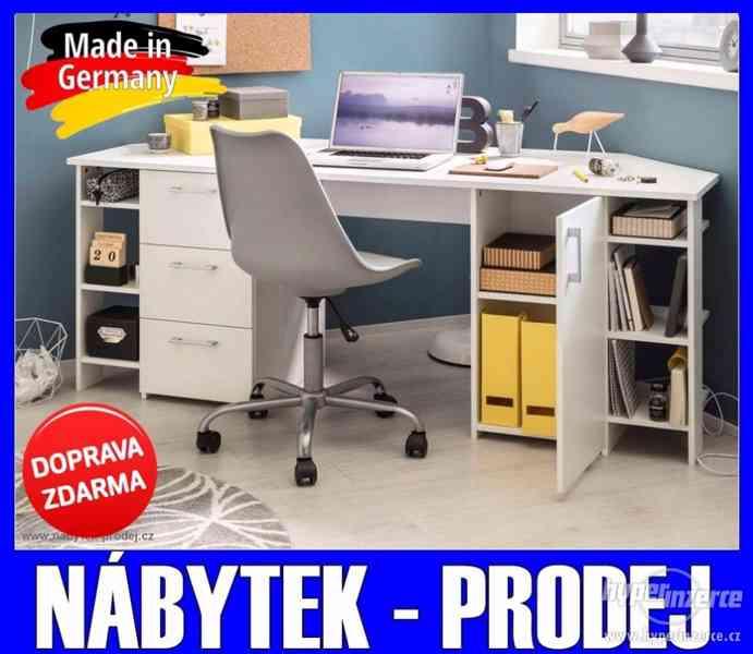 Velký rohový Pc počítačový/psací stůl BÍLÝ 180 cm