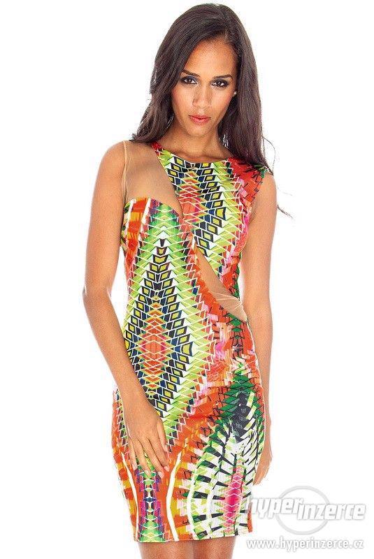 Nové farebné trendy šaty s mesh - foto 1