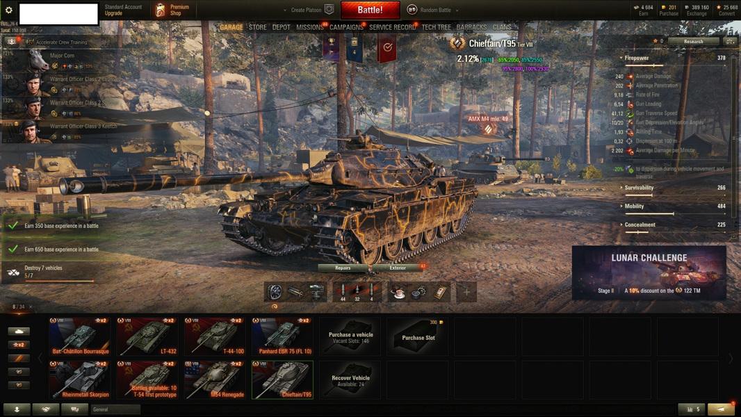 World of Tanks, Chieftain, 907, +3,2k wn8
