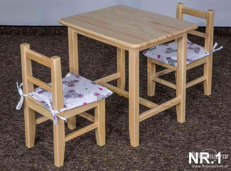 dětský dřevěný jídelní set 1S+2K pacyg