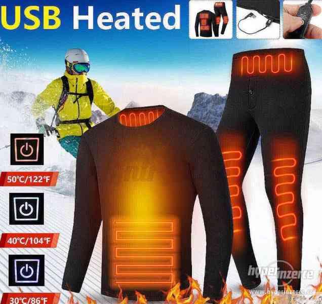 USB vyhřívané termo prádlo/kombinéza- elektrické 38-50°C