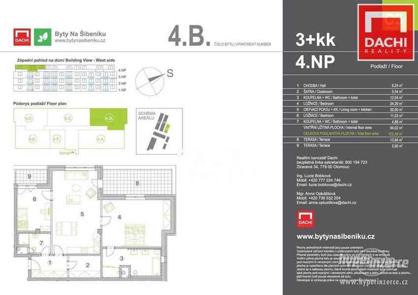 Prodej novostavby bytu 4B (C3) – 3+kk 102 m?, Olomouc, Bytové domy Na Šibeníku - foto 2