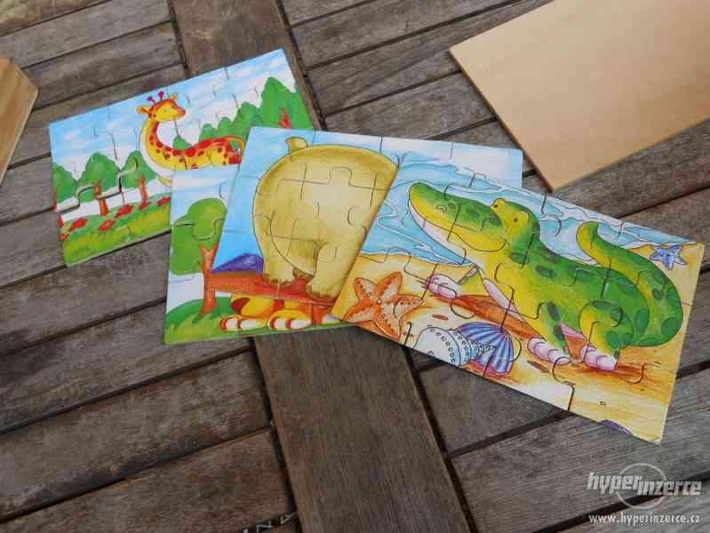 Dřevěné dětské puzzle - zvířátka