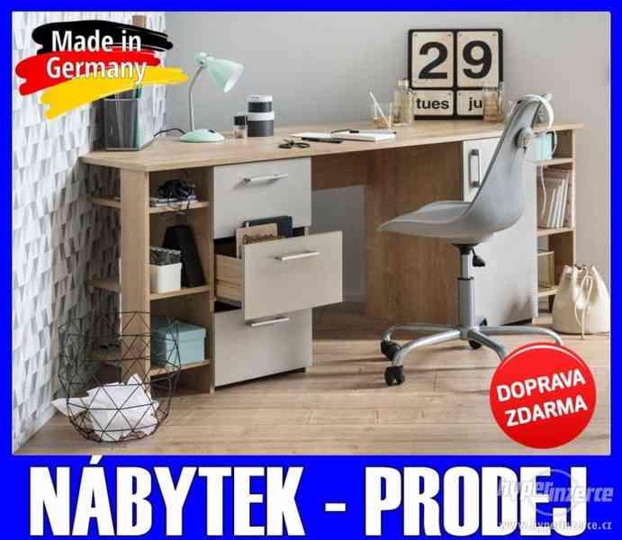 Velký rohový Pc počítačový/psací stůl DUB/ŠEDÁ 180 cm