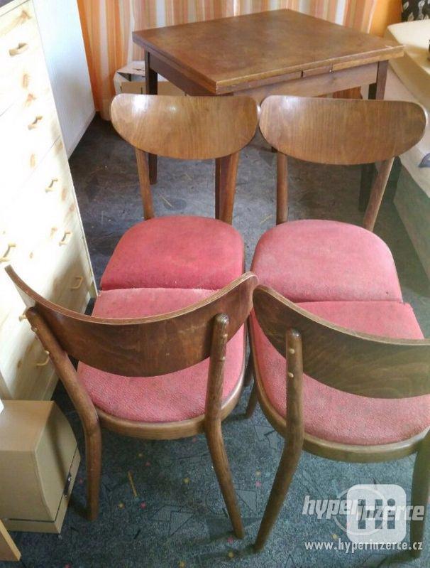 Židle retro sada Expo 4ks - stůl rozkládací. - foto 1