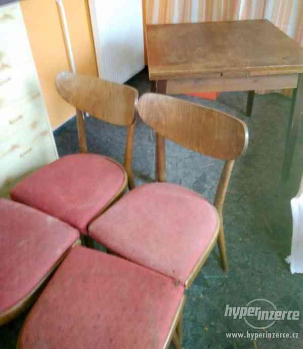 Židle retro sada Expo 4ks - stůl rozkládací. - foto 2