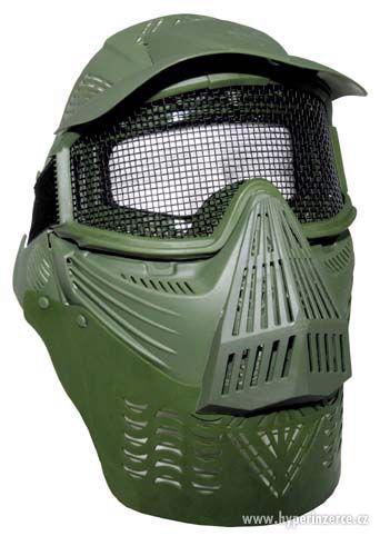 Airsoftová maska - s mřížkou , olivová / nové zboží