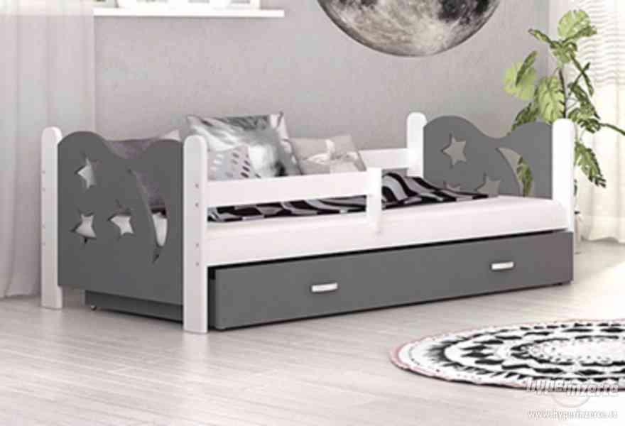 Dětská postel s matrací, roštem a úložným prostorem