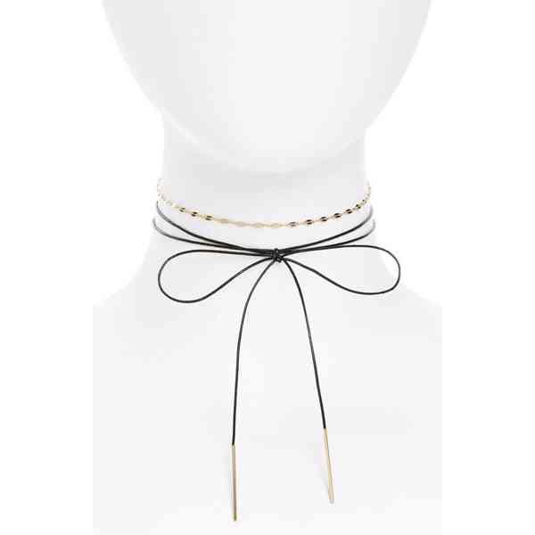 Topshop - Choker náhrdelník s mašličkou a řetízkem  Velikost